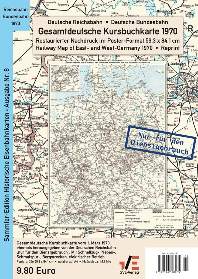 Rail Map of Germany,  1970 (REPRINT)